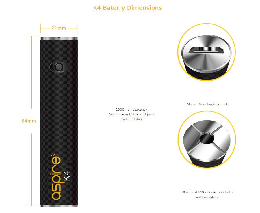 battery Nerilo Aspire K4 Kit Pink